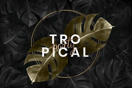 Round golden frame on a tropical background vector Illustration