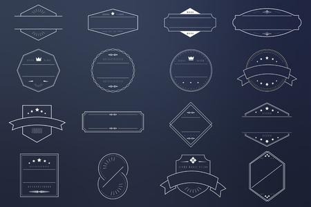 Witte badges op blauwe achtergrond vector collectie
