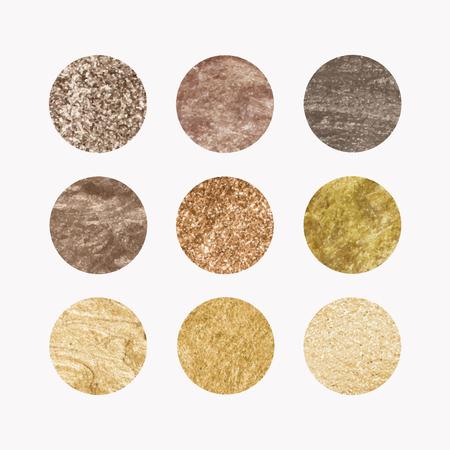 Set of round golden texture vectors Illustration