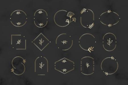 Floral design logo collection on a black background vector