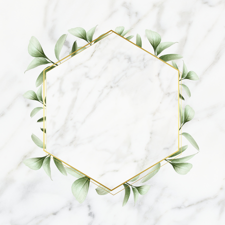 Hexagon golden frame on a marble background