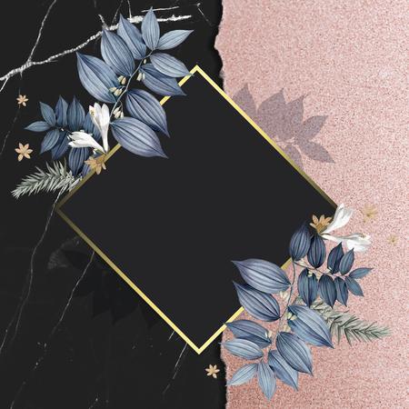 Luxurious floral wedding frame design Foto de archivo