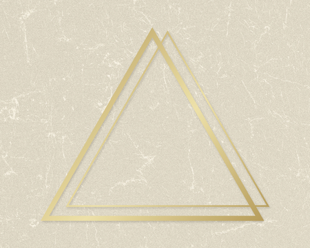 Gold triangle frame on a beige paper textured background