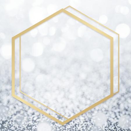 Golden framed hexagon on a glitter texture