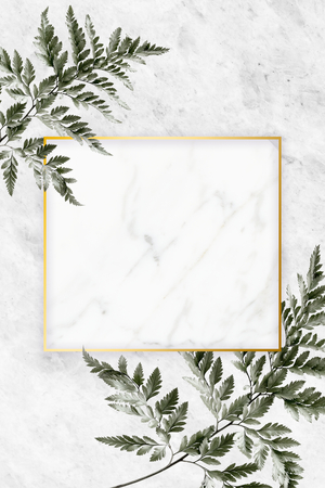 Square golden frame on a marble background Stock Photo