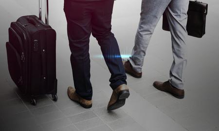 Business Men Walk Talk Luggage