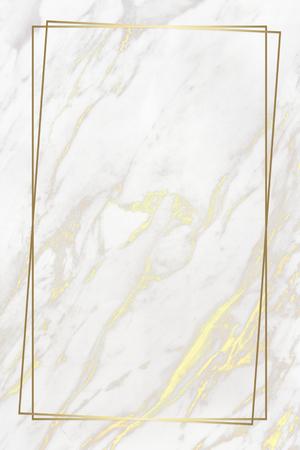 Rechteckiger goldener Rahmen auf Marmorhintergrund