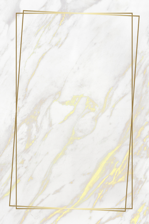 Rectangle golden frame on a marble background Фото со стока - 121183051