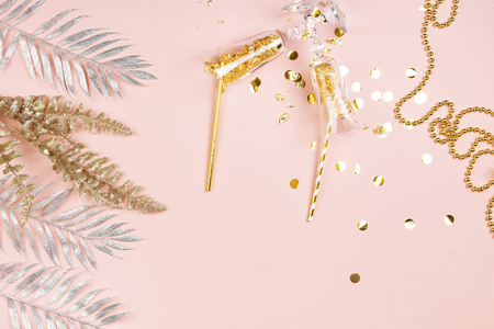 Glamorous pink festive flatlay background