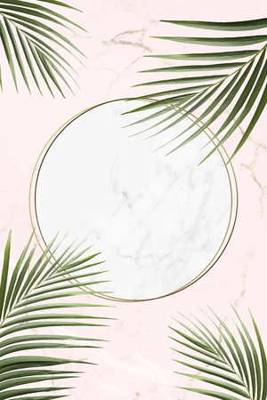 Round golden frame on a tropical background vector Ilustração