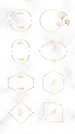 Floral logo design collection on a marble textured background, vector illustration