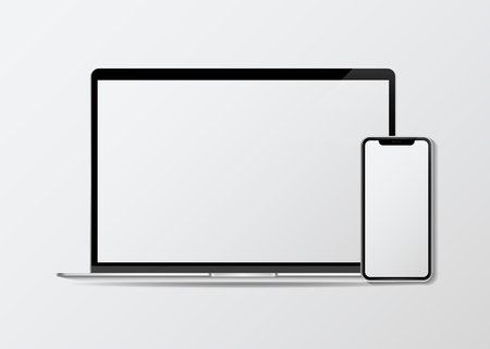 Laptop and a mobile phone mockup, vector illustration 向量圖像