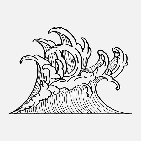 White Japanese wave background vector  イラスト・ベクター素材
