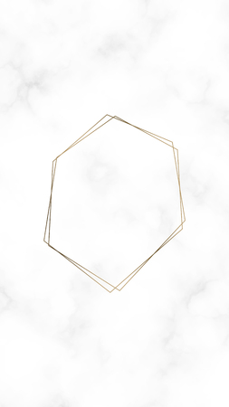 Golden hexagon frame template, vector illustration Illustration