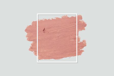 Peinture orange mate avec un cadre rectangle blanc sur fond gris Vecteurs
