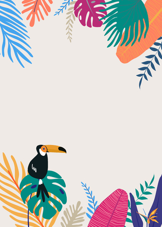 Tropical poster template beige background vector 向量圖像