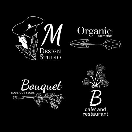 Floral feminine logo design set, vector illustration