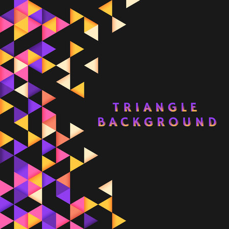 Colorful triangle patterned on black background  イラスト・ベクター素材
