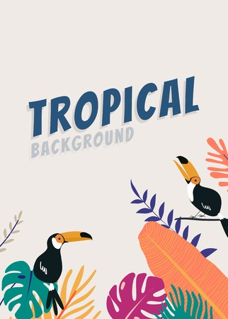 Tropical poster template beige background, vector illustration