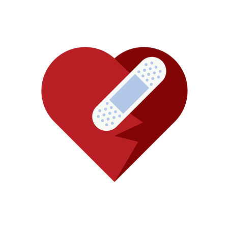 Heart with a plaster bandage vector