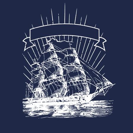 Sailing ship illustration badge, vector illustration