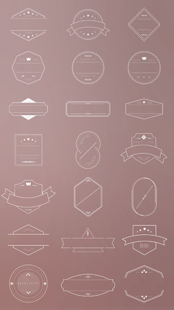 Badges on pink background vector collection