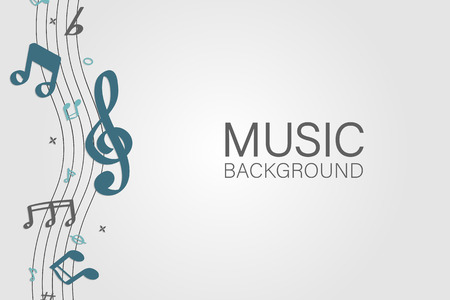 Blue flowing music notes on white background vector