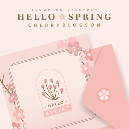 Pink cherry blossom postcard template, vector illustration Illustration
