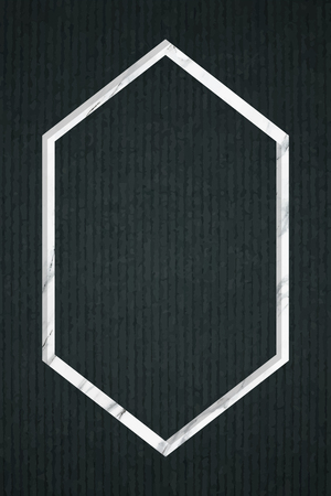Hexagon frame on dark green fabric textured background, vector illustration Illustration