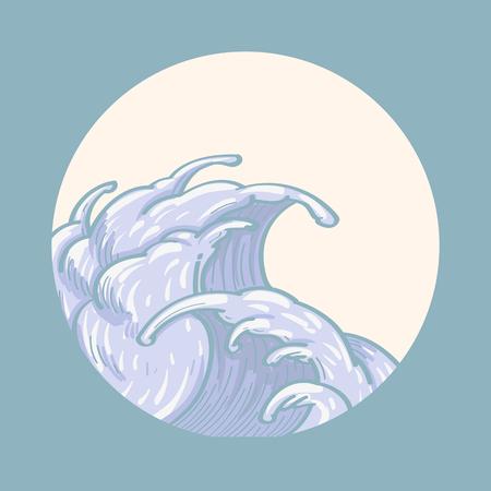 Blue Japanese wave background, vector illustration