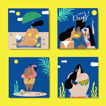 Female characters enjoying summertime collection, vector illustration