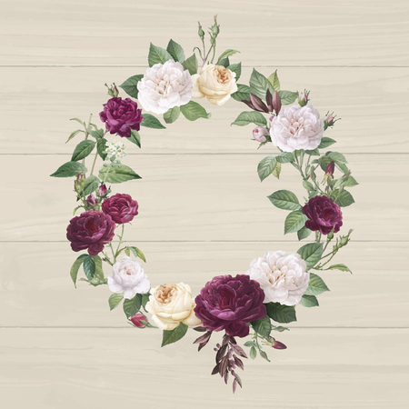 Floral wreath on a wooden background vector
