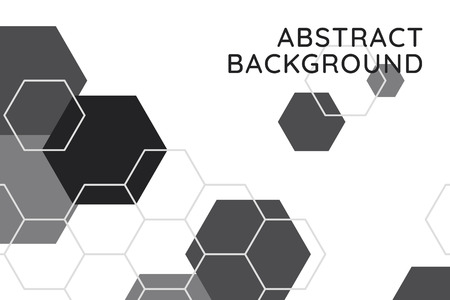 Black and white hexagon geometric pattern background, vector illustration