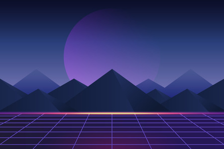Retro neon landscape background, vector illustration