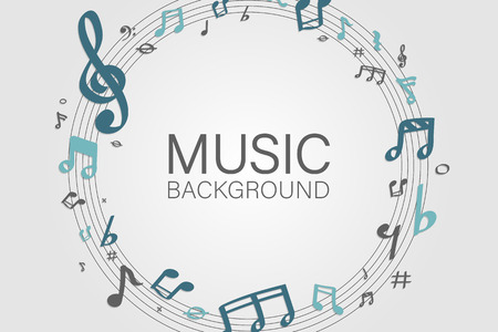 Blue music notes round badge on white background vector