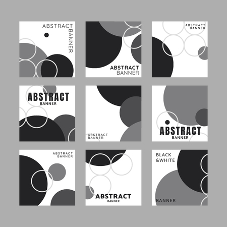 Black and white circle geometric pattern banner vectors set