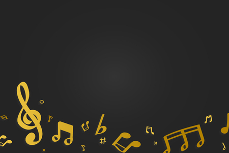 Yellow flowing music notes on black background vector Imagens - 122905641