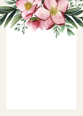 Flowers invitation card template vector