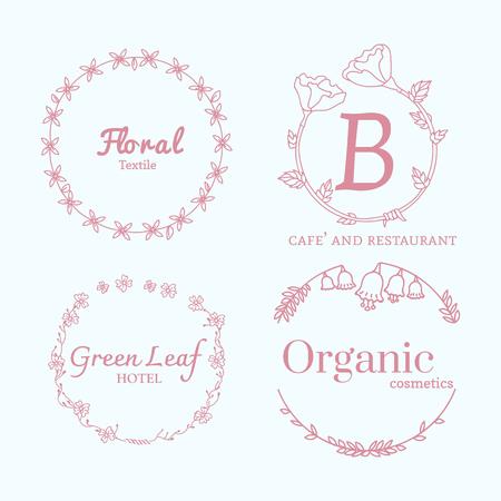 Floral feminine logo design set Banque d'images - 121628180