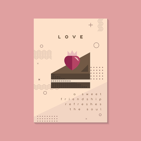 Pastel Valentine's day poster and card mockup vector  イラスト・ベクター素材