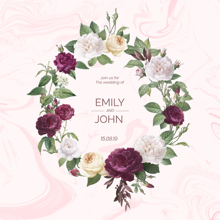 Floral wreath on a marble textured background vector