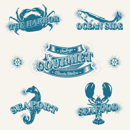 Seafood restaurant vintage logos, vector set
