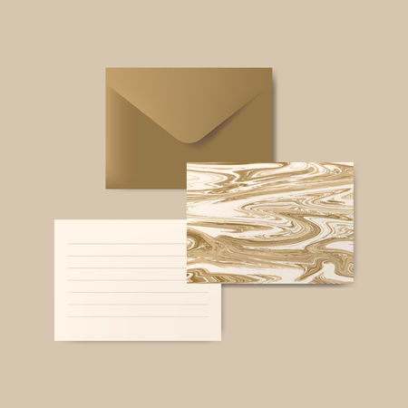 Brown envelope with letter and marble abstract postcard vector