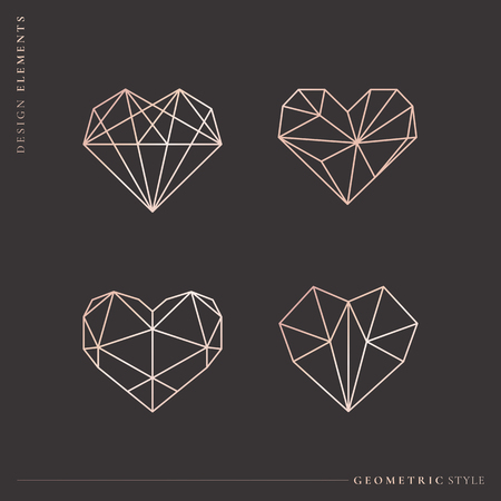 Geometric style heart collection, vector illustration