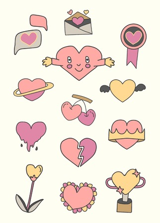 Pink heart design collection vector Çizim
