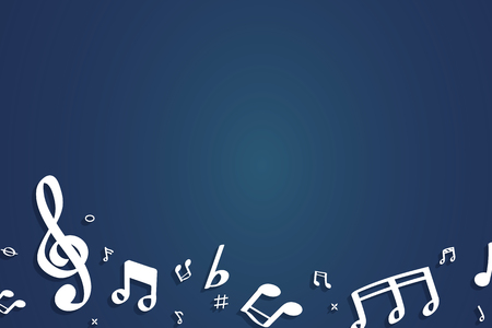 White flowing music notes on blue background vector