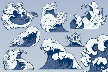 Blue Japanese wave background collection vectors