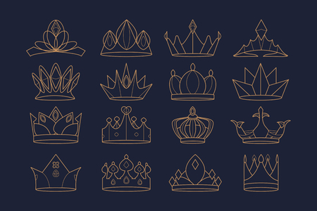 Luxurious royal crown designs, vector collection