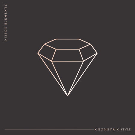 Linear geometric diamond design, vector illustration