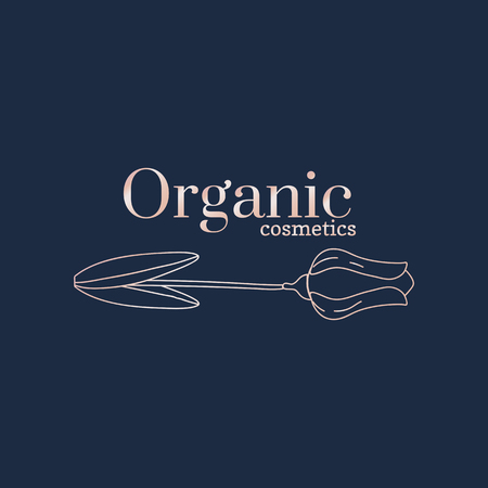 Floral organic cosmetics logo, vector illustration
